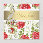 Red Rose Gold Treble Clef Recital Invitation