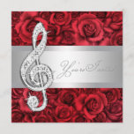 Red Rose Music Treble Clef Recital Invitations