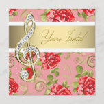 Red Rose Treble Clef Recital Invitation
