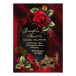 Red Roses and Masquerade Mask Sweet Sixteen Invite