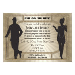 Roaring 20s art deco flapper girl and gangster card