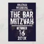 Rock Band Bar Mitzvah Invitation All Type in Black