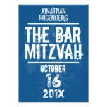 Rock Band Bar Mitzvah Invitation All Type in Blue