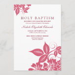 Rose Pink Floral Holy Baptism Invitation