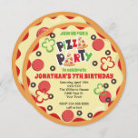 Round Kids Birthday Pizza Party Invitation