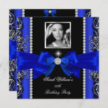 Royal Blue Bow Birthday Party Black Silver Photo 2 Invitation