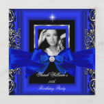 Royal Blue Bow Birthday Party Silver Photo Invitation
