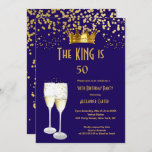 Royal blue Champagne men's king 50 birthday Party Invitation