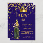 Royal blue Champagne men's king birthday Party Invitation