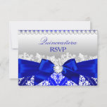 Royal Blue Damask & Pearl Bow Quinceanera RSVP