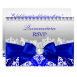 Royal Blue Damask & Pearl Bow Quinceanera RSVP Invitation