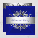 Royal Blue On Silver 50th Birthday Party Invitation