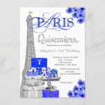 Royal Blue Paris Quinceanera Invitations