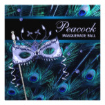 Royal Blue Purple Peacock Masquerade Party Card