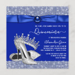 Royal Blue Quinceanera Diamond Tiara Shoe Invitation