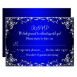 Royal Blue Silver Pearl Damask Sweet 16 RSVP Card