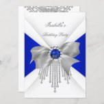 Royal Blue White Diamond Pearl Birthday Party Invitation