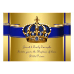 Royal Crown Blue and Gold Prince Baptism Card