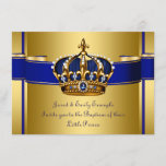 Royal Crown Blue and Gold Prince Baptism Invitation
