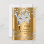 RSVP Quinceanera 15th Birthday Gold Masquerade