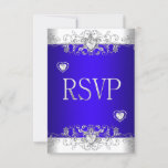 RSVP Royal blue Wedding White Diamond Hearts