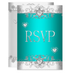 RSVP Teal Silver White Diamond Hearts Invitation