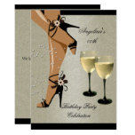 Rustic Black Shoes Wine Glass Birthday Party Invitation