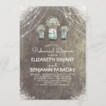 Rustic Mason Jars Baby's Breath Rehearsal Dinner Invitation