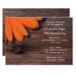 Rustic Orange Daisy Wedding Anniversary Party Card