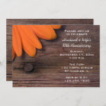 Rustic Orange Daisy Wedding Anniversary Party Invitation