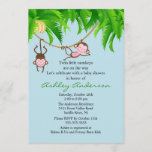 Safari Twin Monkeys Baby Shower Invitation