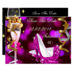 Save The Date Fabulous 40 Hot Pink Gold Bubbles Card