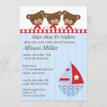 Ships Ahoy It's TRIPLET'S Baby Shower Invitation