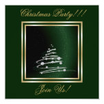 Silver Abstract Christmas Tree On Green Invitation