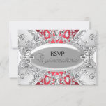 Silver & Red Diamond Damask Quinceanera RSVP