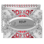 Silver & Red Diamond Damask Quinceanera RSVP Invitation
