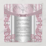 Silver and Pink Baby Girl Christening Invitation