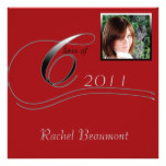 Silver and Red Modern Classic Graduation Card