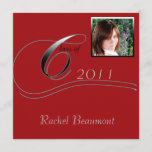 Silver and Red Modern Classic Graduation Invitation