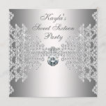 Silver Diamonds White Sweet Sixteen Birthday Party Invitation