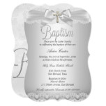 Silver Lace & Cross Baptism Boy or Girl Card