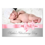 Silver Pink Damask Bow Girl Photo Christening Invitation