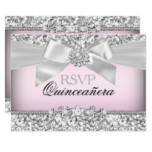 Silver Pink Glitter & Jewel Bow Quinceanera RSVP Invitation