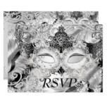 Silver Sparkle Mask Masquerade Party RSVP Invitation