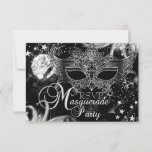 Silver Sparkle Mask Star Night Masquerade RSVP