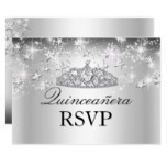Silver Sparkle Tiara & Stars Quinceanera RSVP Card