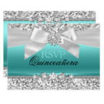 Silver Teal Glitter & Jewel Bow Quinceanera RSVP Invitation