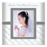 Silver White Photo Girls 1st Communion Card