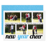 Sky blue and black New Year Cheer photo collage Card