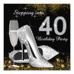 Stepping Into 40 Birthday Party Silver Gold Invitation